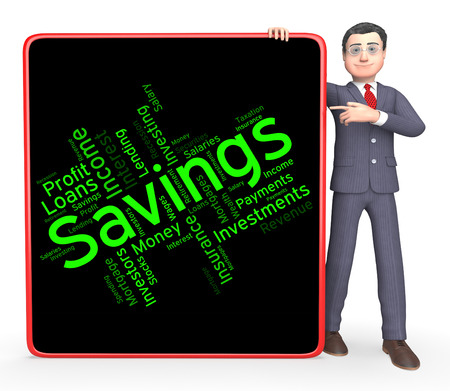 saved: Savings Word Indicating Investment Wealthy And Saved Stock Photo