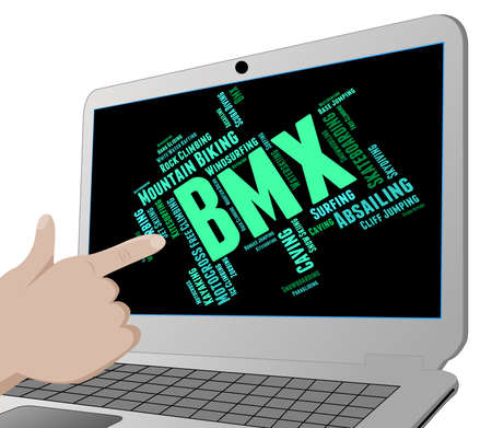 bmx bike: Bmx Bike Words Meaning Cycling Cyclist And Activity Stock Photo
