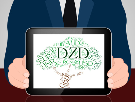 algerian: Dzd Currency Showing Forex Trading And Algerian