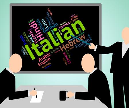 lingo: Italian Language Indicating Translate Languages And Italy Stock Photo