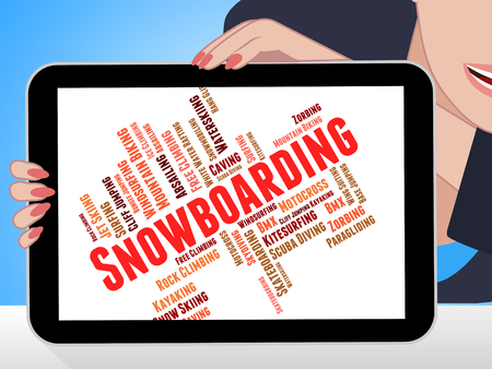 boarders: Snowboarding Word Indicating Winter Sport And Words Stock Photo