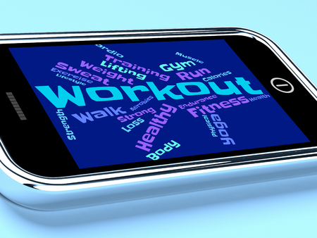 getting: Workout Words Representing Getting Fit And Athletic