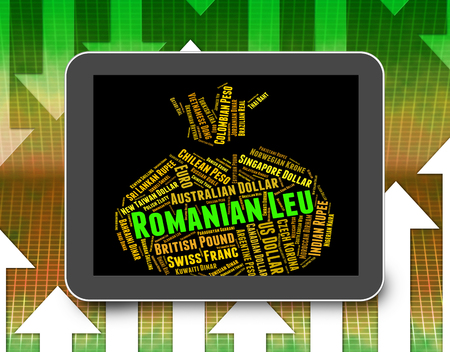 forex trading: Romanian Leu Meaning Forex Trading And Coinage Stock Photo