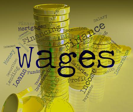 ganancias: Salarios Palabra Indicando Ingresos Ganancias y ganar