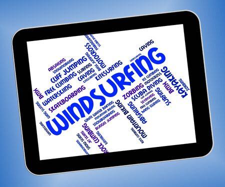 windsurf: Windsurf Palabra En representación de embarque de la vela y windsurf Foto de archivo