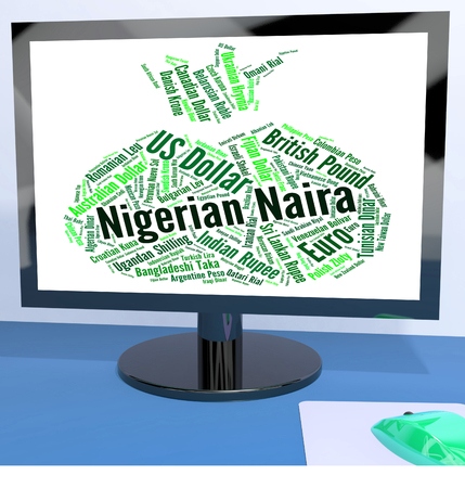 coinage: Nigerian Naira Indicating Worldwide Trading And Currency