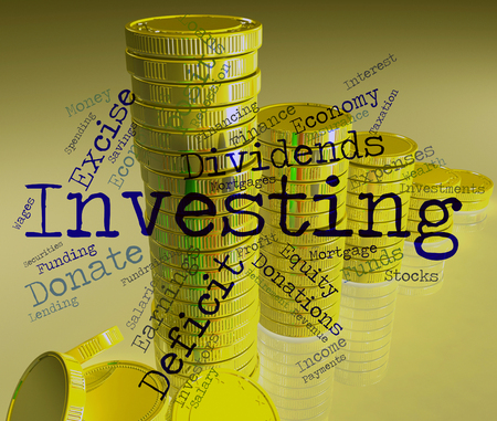 return on investment: Investing Word Showing Return On Investment And Growth Portfolio Stock Photo