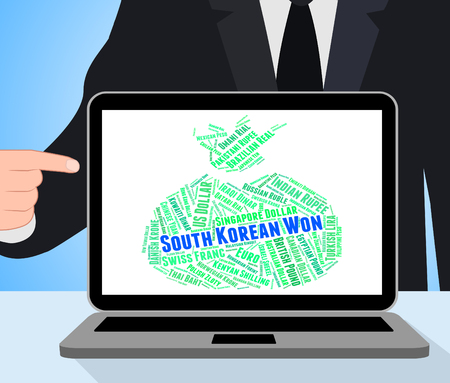 won: South Korean Won Indicating Worldwide Trading And Currencies