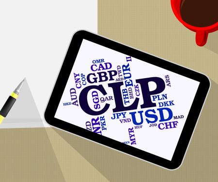chilean: Clp Currency Representing Chilean Pesos And Market Stock Photo