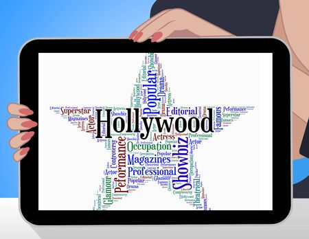 hollywood star: Hollywood Star Showing Silver Screen And Wordcloud
