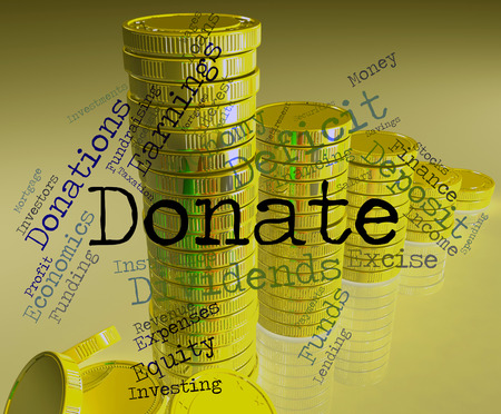 contributes: Donate Word Meaning Donation Donating And Volunteers Stock Photo