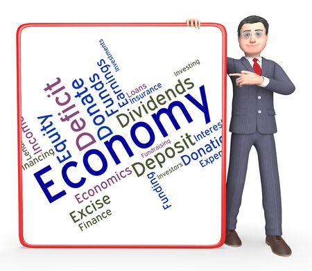 economizing: Economy Word Indicating Micro Economics And Economize