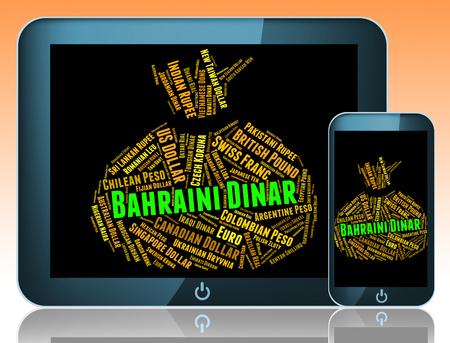 dinar: Bahraini Dinar Indicating Foreign Exchange And Word
