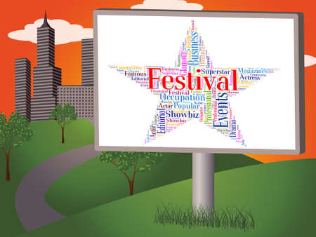 Festival Star Showing Concerts Word And Festivals