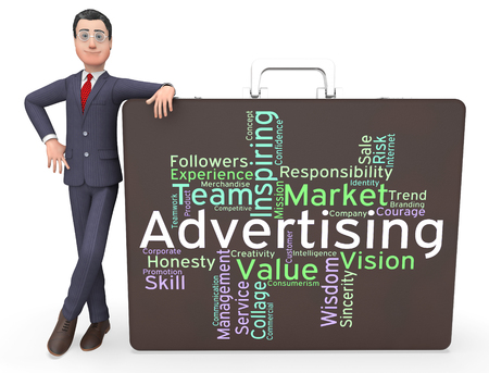 promoting: Wordcloud Advertising Indicating Ads Promotional And Promoting Stock Photo