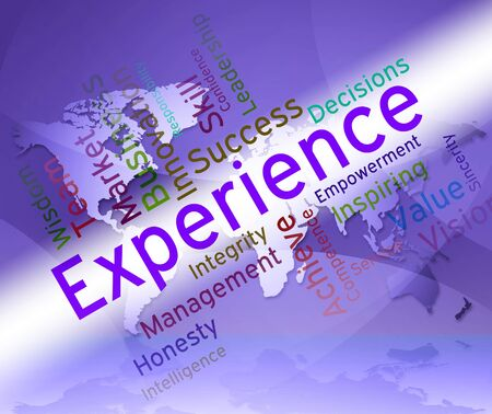 competency: Experience Words Indicating Know How And Proficiency Stock Photo