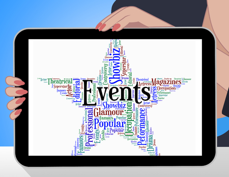 happenings: Events Star Showing Words Occasion And Ceremony Stock Photo