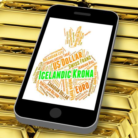 icelandic: Icelandic Krona Indicating Forex Trading And Words