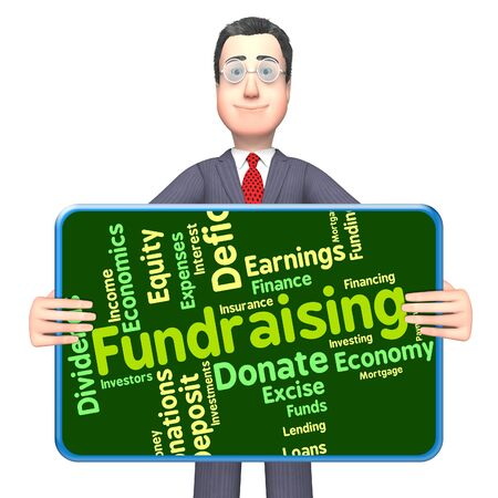 contributes: Fundraising Word Meaning Contributes Venture And Money