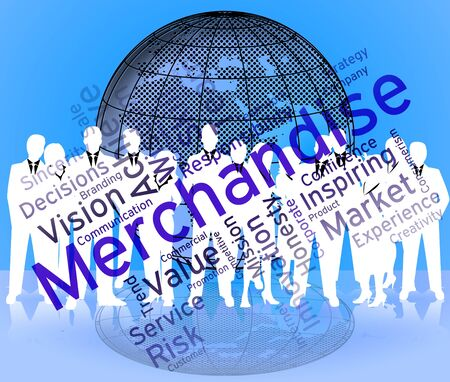 vend: Merchantise Words Showing Goods Stock And Wordcloud Stock Photo