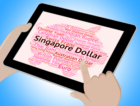 foreign currency: Singapore Dollar Showing Foreign Currency And Words