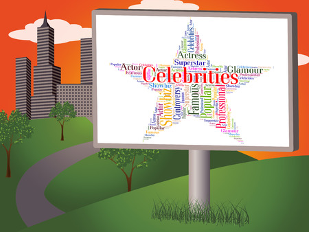 stardom: Celebrities Star Representing Notable Text And Renowned Stock Photo