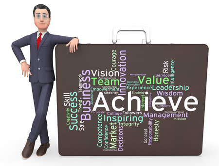 attainment: Achieve Words Indicating Victory Victorious And Achieving Stock Photo