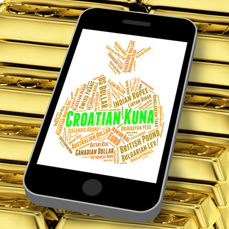 croatian: Croatian Kuna Indicating Currency Exchange And Coinage Stock Photo