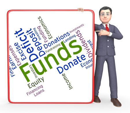 funds: Funds Word Indicating Words Share And Finance Stock Photo
