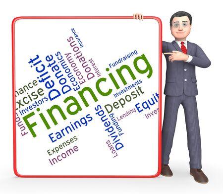 ganancias: Financiamiento Palabra Representando Ganancias de negociación y de negocios