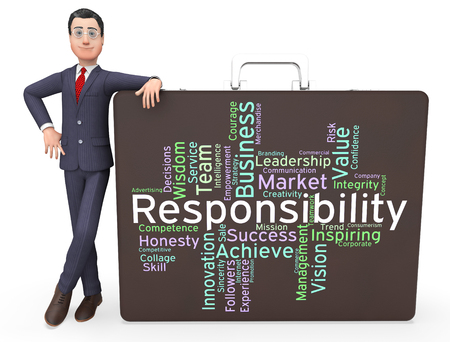 obliged: Responsibility Words Representing Text Accountabilities And Accountable Stock Photo