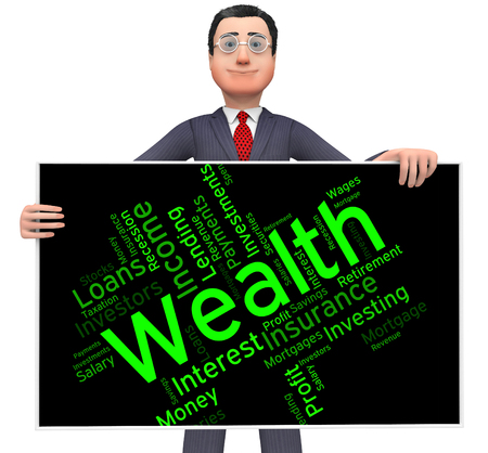 affluence: Wealth Word Representing Prosper Wordcloud And Richness Stock Photo