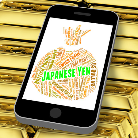 foreign exchange: Japanese Yen Showing Foreign Exchange And Word Stock Photo