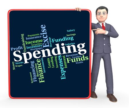 spending: Spending Word Representing Shopping Text And Words