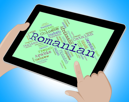 lingo: Romanian Language Representing Translate Wordcloud And Vocabulary