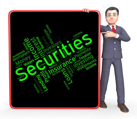 indebt: Securities Word Representing Financial Obligation And Liability Stock Photo