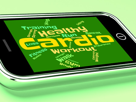 cardiovascular workout: Cardio Word Representing Aerobic Fitness And Workout