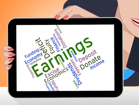 Earnings Word Indicating Salaries Yields And Dividends