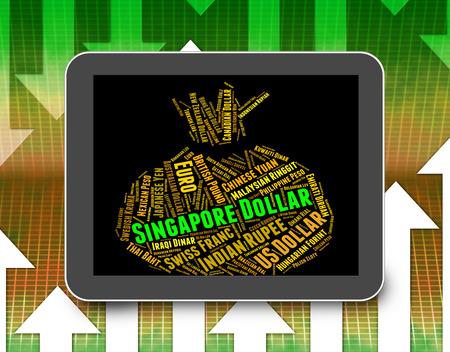 singaporean: Singapore Dollar Indicating Singaporean Dollars And Banknote Stock Photo