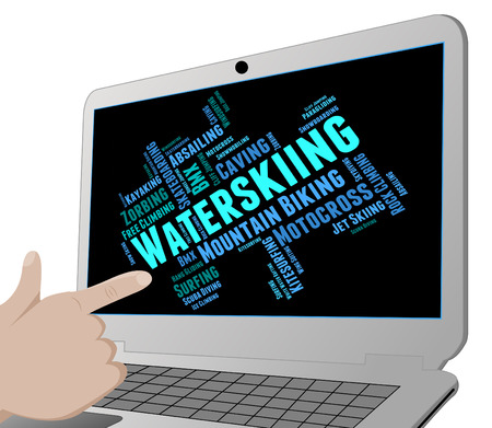 water skier: Waterskiing Word Indicating Watersports Text And Sport Stock Photo