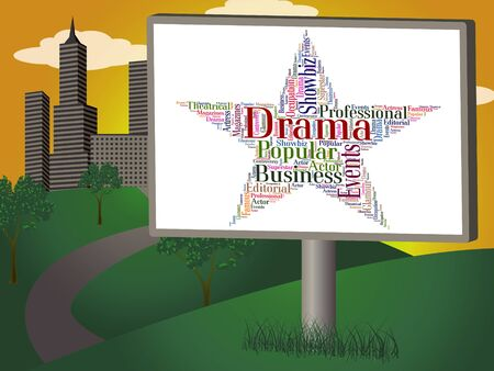 plays: Drama Star Indicating Words Theatre And Plays Stock Photo