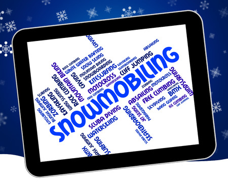 winter sport: Snowmobiling Word Showing Winter Sport And Words Stock Photo