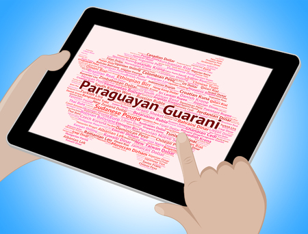 coinage: Paraguayan Guarani Showing Foreign Exchange And Wordcloud Stock Photo