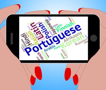 portuguese: Portuguese Language Showing Translate Text And International