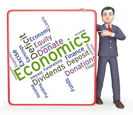 economizing: Economics Word Showing Financial Economizing And Economize Stock Photo