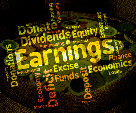 dividend: Earnings Word Representing Salaries Return And Dividend