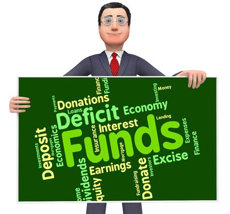 stock: Funds Word Indicating Stock Market And Finance Stock Photo