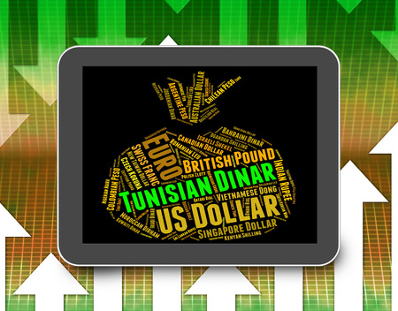 dinar: Tunisian Dinar Indicating Forex Trading And Currency