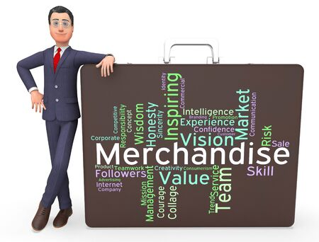 vend: Merchantise Words Indicating Vending Sale And Produce Stock Photo