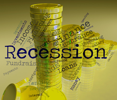 crisis economica: Recesi�n Palabra Indicando la crisis econ�mica y el fracaso Foto de archivo